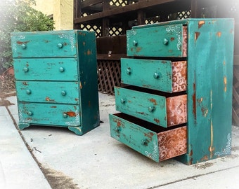 SOLD - Matching French Country Dresser Set, green hues w/ corner accents & lace detailing, rustic, farmhouse dressers, shabby chic dressers