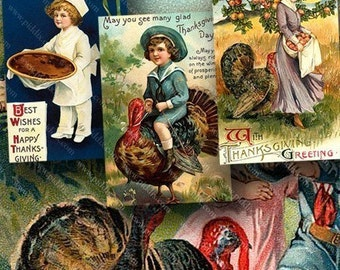 Vintage Victorian Thanksgiving Postcards Digital Collage Sheet 2.5x3.8 Inches for Holidays Gifts Scrapbooking and More piddix 680