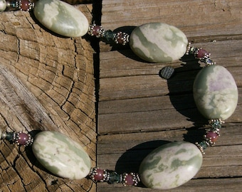 Peace Jade and Genuine Ruby Necklace with Swarovski Crystal