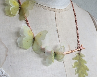 Handmade Yellow and Green Silk Organza Fabric Butterflies Necklace on Electroformed Real Branch Tree in Copper - One of a Kind Like Nature