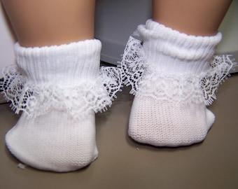 White lace doll socks