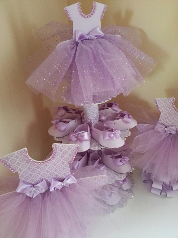 Three Tier Lavender Ballerina Shoe Favor Stand With Two