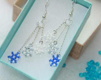 Tiny snowflakes snowflakes earrings snowflake charm Frozen earrings gift holiday gift Christmas winter drop earrings Frozen earrings
