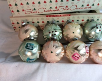 Vintage Shiny Brite Jeweled Ornaments with Good Boxes Nice