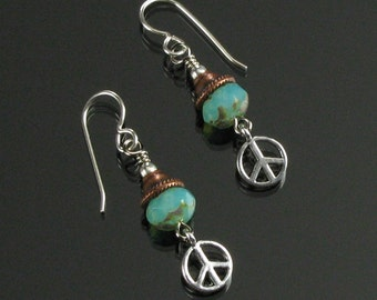 Peace Symbol Dangle Earrings, Unique Copper & Silver Mixed Metal Earrings, Peace Sign Jewelry, Birthday Gift for Women, Sixties Jewelry Gift