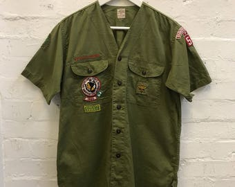 RARE Vintage 1960 60s Boy Scouts of America Button up Shirt Official BSA