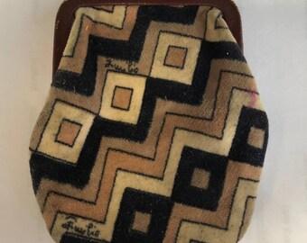 Vintage Emilio Pucci Coin Change Purse Wallet Cotton Velvet & Leather