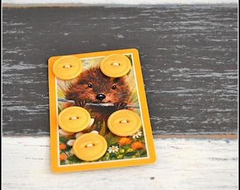 Set of (5) Vintage Yellow Goldenrod Plastic Buttons - Yellow Button Lot - Vintage Button Lot  (#90)