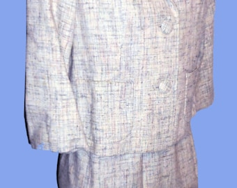 Vintage Women's Late 50's early 60's Jackie O White Peppermint Box Suit Sz ML