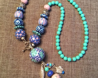 BEAUTIFUL PLANET, artisan lampwork, porcelain, and sterling silver necklace