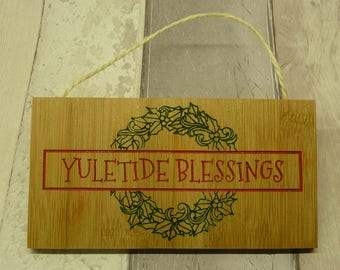 Yuletide blessings, glittery, pagan, hanging Yuletide sign. Handmade. Bamboo.