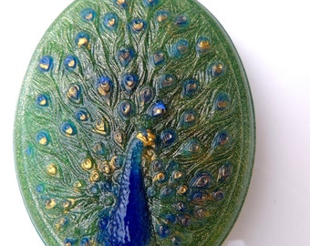 PEACOCK SOAP, Bird Soap - Oval - Peacock Feathers Soap- Indigo Blue - Green and Gold - Scented Ginger Patchouli