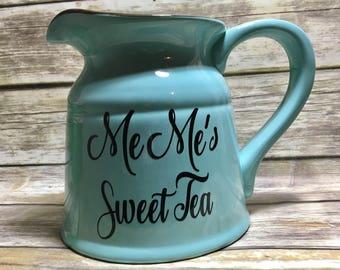 Large Ceramic Pitcher, Turquoise Pitcher, Kitchen Utensil Holder, Housewarming Gift, Wedding, Personalized, Hostess Gift,