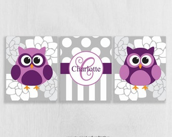 Purple Nursery Wall Decor Print Set of 3 - Owl Nursery Decor - Purple Owl Wall Art Prints - Bathroom Wall Art - Art for Girls - Personalized