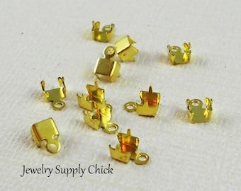 2.1 mm brass rhinestone chain crimp end connector  (x6+)