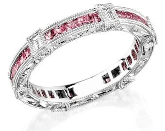 14K White Gold, Diamond and Princess Cut Pink Sapphire ,Stackable ring