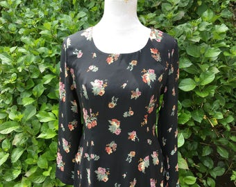 90's Floral Dress // 8 // 10 // Large // Long Sleeve // Vintage // Black