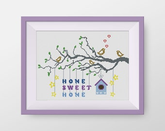 BUY 2, GET 1 FREE! Home Sweet Home Cross Stitch Pattern, pdf counted cross stitch, modern cross stitch pattern, Instant Download, #P046