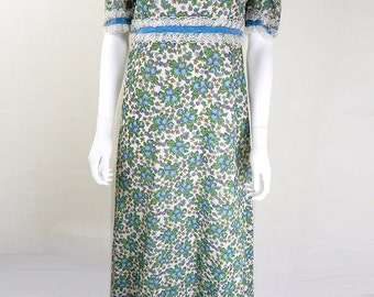 Vintage 1970s John Charles Boho Maxi Dress UK Size 12