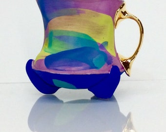 Squared pastel  mug with gold two finger handle