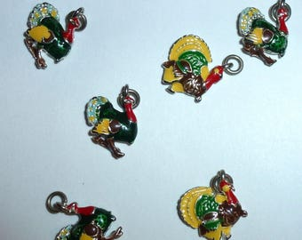 Puppy Bows craft items ~ set of 6 turkey thanksgiving charms  (CS4)