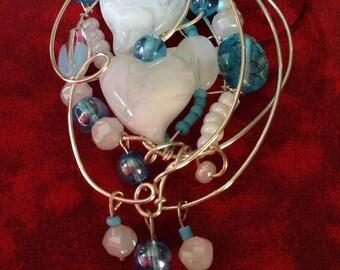 White heart doodle pendant