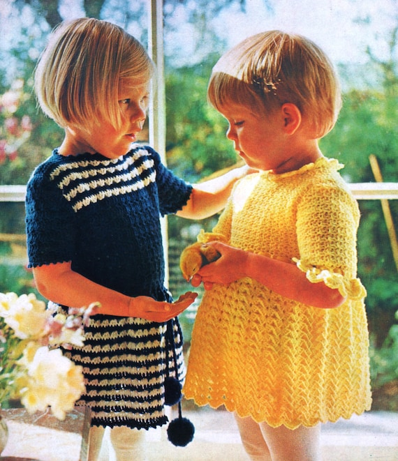 PDF Crochet Pattern / Cute Girls Crochet Dress Pattern / 4 ply Yarn ...
