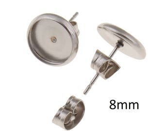 10 Pairs 8mm Stainless Steel Cabochon Setting Earring Stud Posts with Tension Locking nuts