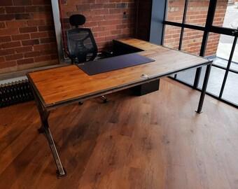 industrial style office desk. Vintage Industrial Style L-shaped Corner Desk/table. Urban Workstation. Executive Office Desk L