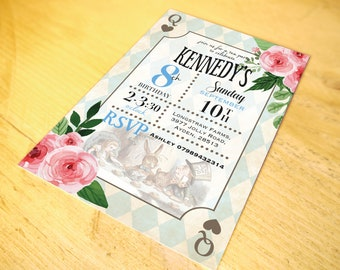 Classic Alice in Wonderland Invitations • Qty 50 - 99 • including Envelopes