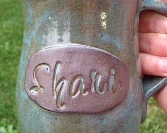 Personalized pottery mug with name, custom coffee cup