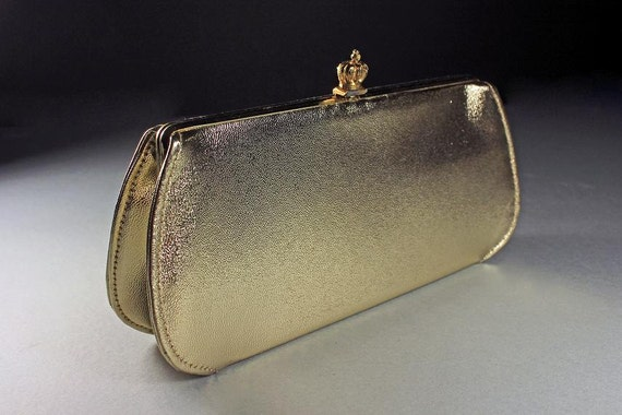 Gold Evening Bag, Clutch Purse, Chain Handle, Gold Lame Exterior, Black Interior, Snap Crown Closure