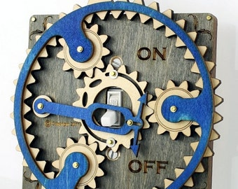 Blue Gray Planetary Gear Light Switch Plate #8002C