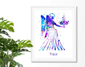 Virgo #4 Watercolor  Astrology Art, Print, Virgo  Sign , Virgo Zodiac, Virgo Wall Art,  Virgo Poster, Gift for  Virgo