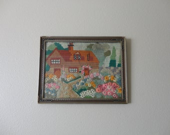 VINTAGE framed with glass NEEDLEPOINT COTTAGE wall hanging - cottage house flowers floral - cottage chic decor