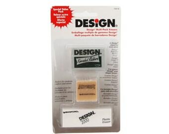 Prismacolor Design Multi-Pack Art Erasers by Sanford. Includes Design Kneaded Rubber, Design 2000 Plastic Eraser, Gum Eraser. Size Large.
