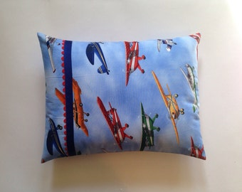 Up, Up, and Away Vintage Airplanes with royal blue grosgrain and red ric rac Accent Pillow/Travel Pillow/Baby Pillow