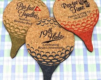 Wedding Favor Coasters, Personalized Golf Ball Shaped Cork Coaster - Set of 12