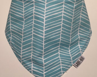 Cotton / Bamboo Dribble Bib, Blue Herringbone