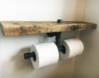 Double Toilet Roll Holder   Industrial Furniture   Bathroom Shelf   Rustic  Wood   Bathroom Accessories
