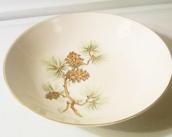 Royal China Vegetable Bowl Warranted 22K Gold Mountain Pine Pattern Gold Rim Bowl & Pine cone china   Etsy