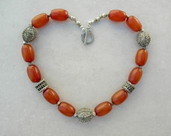 Antique Yemeni Silver Beads, Antique Yemeni Cognac Amber, Silk Road Necklace by SandraDesigns