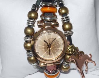 Copper Greyhound Dog and Bronze Heart Charms Bracelet Watch