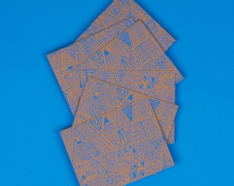 Patterned Note Cards | Set of 6, A2, Turquoise, Ochre, Triangles, Blank, Hand Printed, Note Card Set, Unique Stationery, With Envelopes