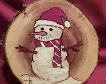 Holiday hand painted wood slices