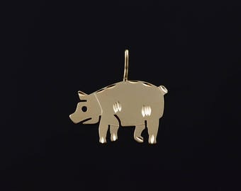 14k Pig Porky Farm Animal Charm/Pendant Gold