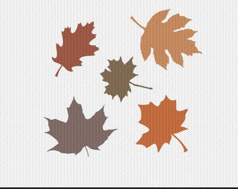 fall leaves svg dxf file instant download silhouette cameo cricut clip art commercial use