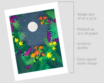 "Signed Art Print of Cut Paper Illustration ""Moonlight"" (12x16) Limited Edition Print"
