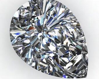 NEO moissanite - 2 carat pear cut moissanite, near colorless NEO moissanite, loose stone