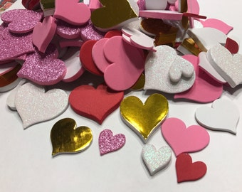 12 assorted foam stick on hearts, 20 - 40 mm (A7)